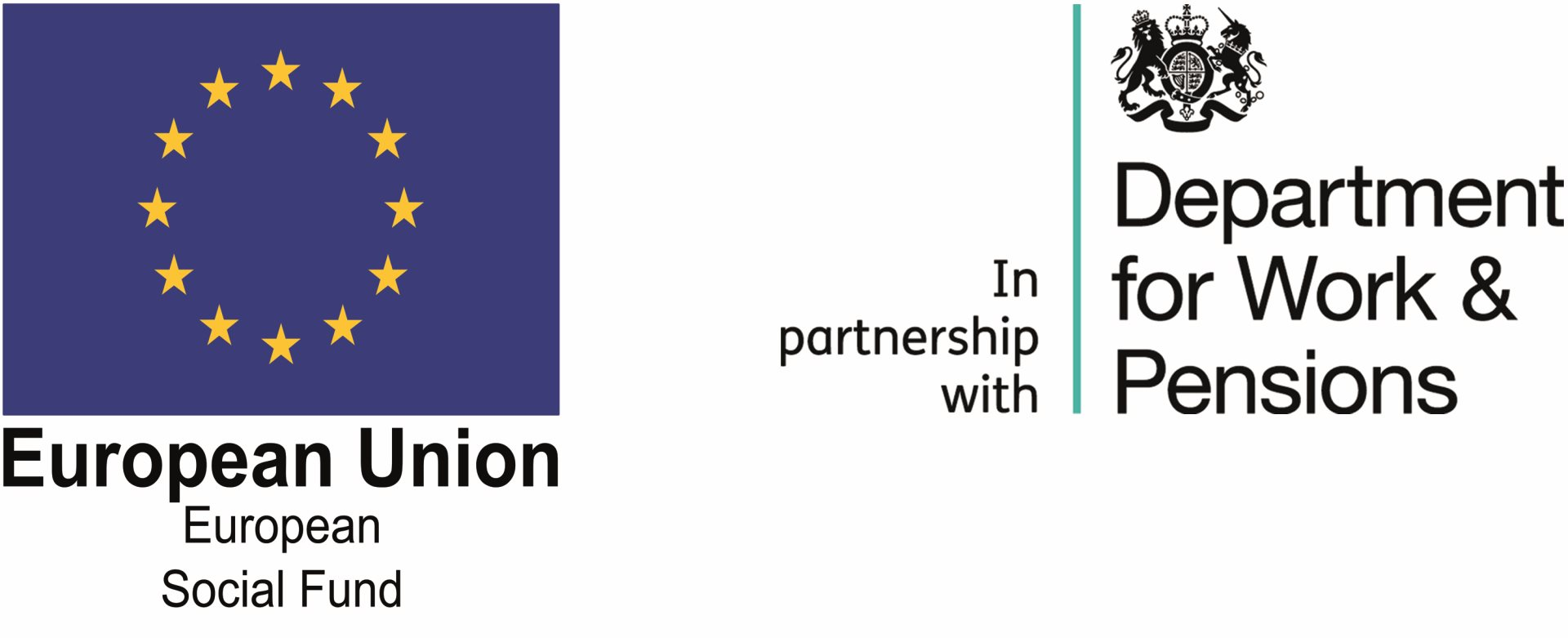 Logos of Department for Work and Pensions, European Social Fund and Jobcentre Plus